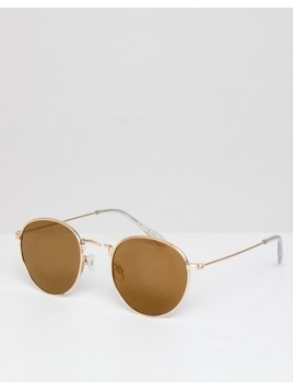 River Island Round Sunglasses In Rose Gold - Gold