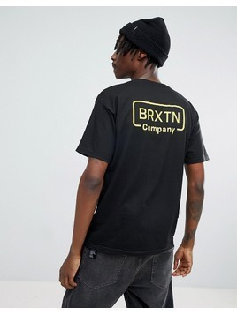 Brixton Crosswhite T-Shirt With Back Print - Black