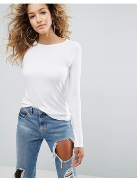 ASOS Crew Neck in Slim Fit in Rib - White