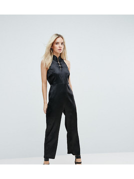 Fashion Union Petite High Neck Jumpsuit With High Neck And Button Detail - Black