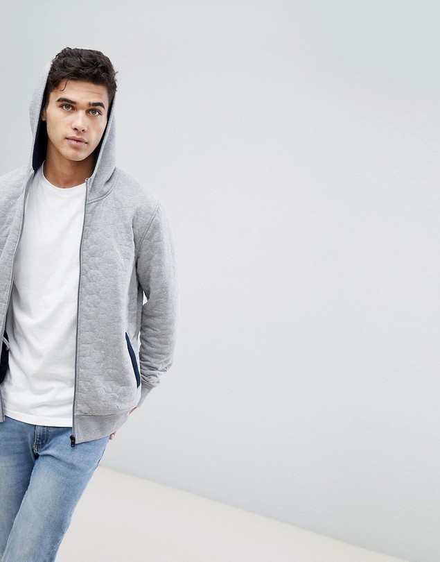 Jack & Jones Core Zip Through Hoodie With Quilt Detail - Grey