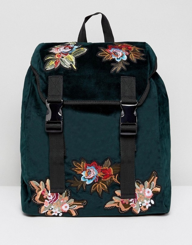 ASOS Backpack In Green Velvet With Floral Embroidered Patches - Green