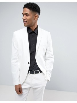 Selected Homme Slim Suit Jacket In Linen - White