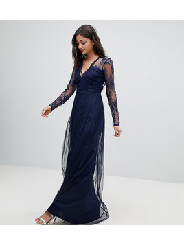 ASOS TALL Lace Maxi Dress with Long Sleeves - Navy