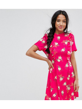 ASOS PETITE Mini Tea Dress with Open Back and Frill - Pink