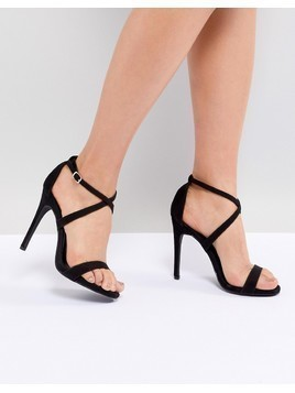 New Look Cross Strap Heeled Sandal - Black