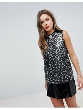 Love Moschino Sequined Tank Vest - Black