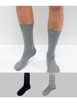 Selected Homme Socks In 2 Pack With Dot Print - Multi