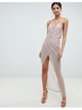 ASOS DESIGN Metallic Drape Maxi Dress - Gold
