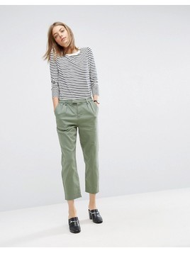 ASOS Denim Trousers in Washed Khaki - Green