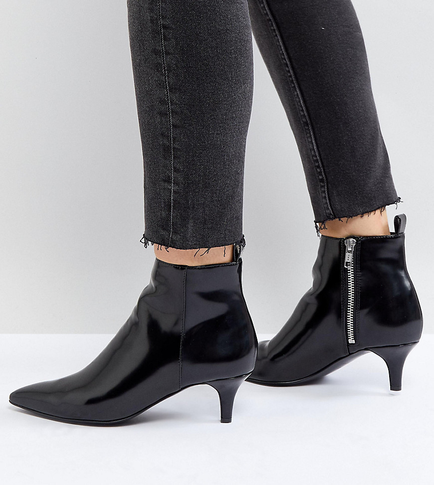 Monki Kitten Heel Ankle Boot - Black