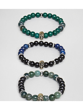 Reclaimed Vintage Inspired Skull Bracelet With Semi Precious Beads In 3 Pack Exclusive To ASOS - Silver