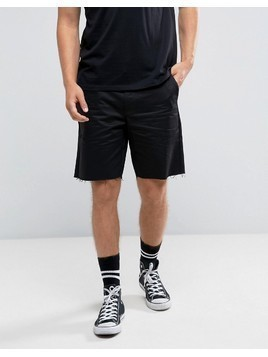 Religion Chino Shorts In Skater Fit With Raw Edge - Black
