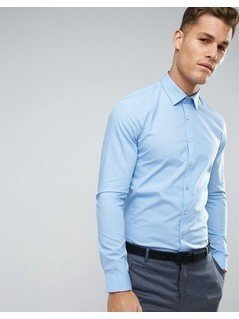 Calvin Klein Super Skinny Smart Shirt With Stretch - Blue