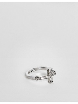 Icon Brand Wrap Cross Ring In Antiqued Silver - Silver