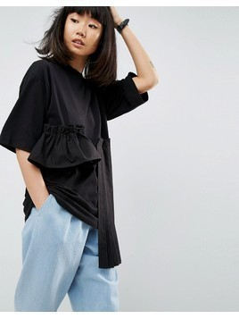 ASOS WHITE Oversized T-Shirt With Laid On Ruffle And Pleat Hem - Black