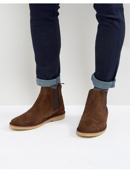 Zign Suede Chelsea Boots In Brown - Brown