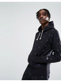 Champion Hoodie With All Over Logo Print In Black - Black