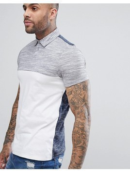 ASOS DESIGN polo shirt with contrast back and yoke in interest fabric - White