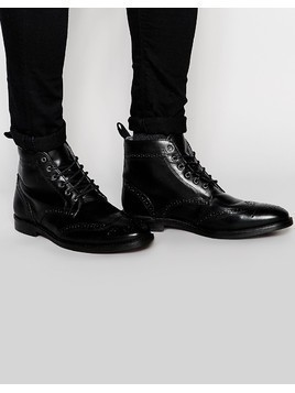 Red Tape Brogue Boots - Black