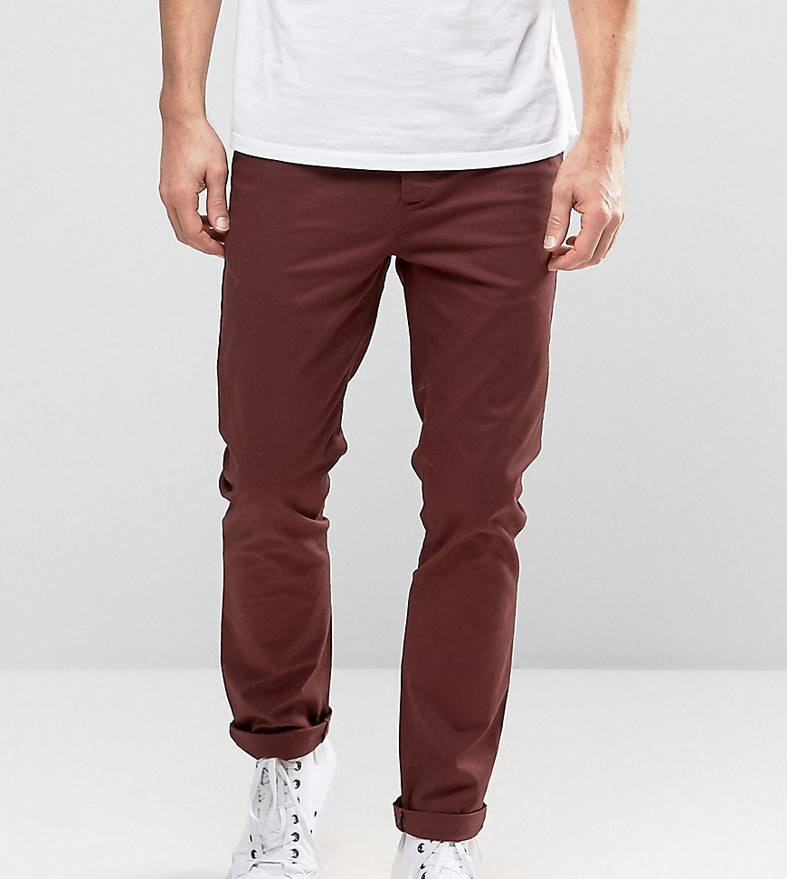 ASOS TALL Slim Chinos In Burgundy - Red
