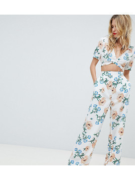 Boohoo Floral Wide Leg Trouser - White