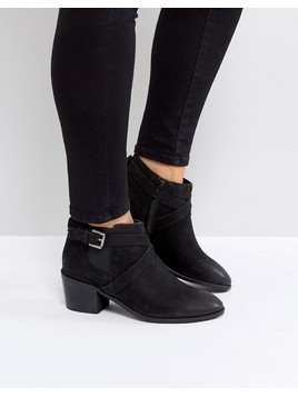 Rule London Strappy Low Leather Boot - Black
