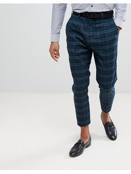 Noose&Monkey Tapered Pleated Check Trousers - Green