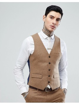 Harry Brown Camel Nep Slim Fit Suit Waistcoat - Tan