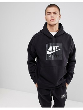 Nike Air Pullover Hood With Large Logo In Black 886046-010 - Black