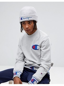 Champion Beanie With Script Logo In Grey - Grey