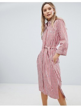 In Wear Polina Belted Stripe Shirt Dress - Red