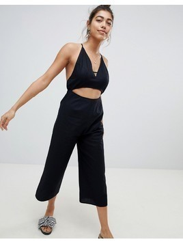 ASOS DESIGN cotton jumpsuit with cut out detail - Black