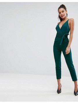 ASOS Wrap Front Jumpsuit with Peg leg and Self Belt - Green