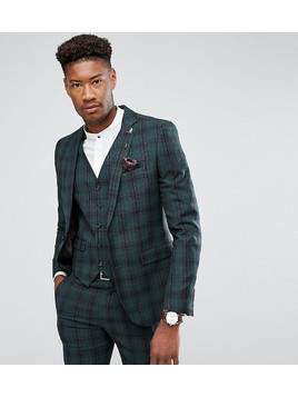 Harry Brown TALL Skinny Tartan Suit Jacket - Green