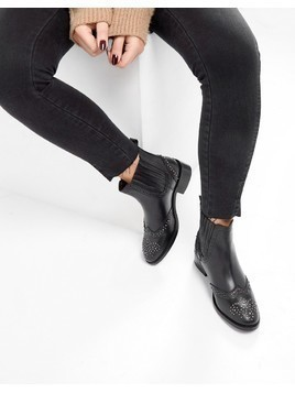 ASOS ALMA Leather Studded Chelsea Boots - Black