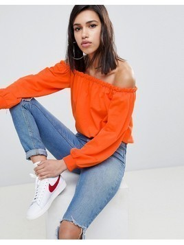 ASOS DESIGN off shoulder sweatshirt with pretty ruffle detail - Red