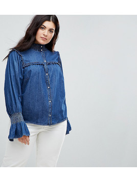 ASOS CURVE Denim Shirred Shirt With Frill Detail in Indigo - Blue