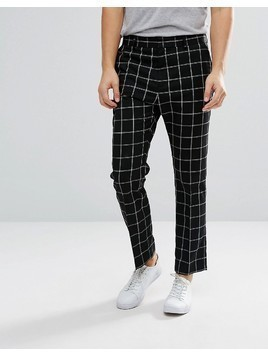 Weekday Checked Suit Trousers - Black