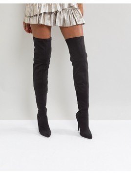Truffle Collection Stiletto Thigh High Boot - Black