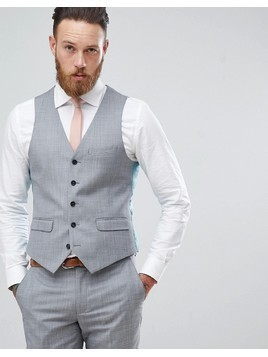 Harry Brown Winter Wedding Charcoal Tonal Skinny Fit Waistcoat - Grey