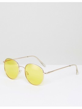 ASOS 90S Round Sunglasses With Yellow Coloured Lens - Gold