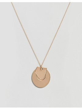 ASOS DESIGN circle disc and geo shape pendant necklace - Gold