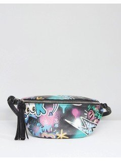 ASOS Graffiti Print Bum Bag - Black