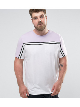 ASOS PLUS T-Shirt With Contrast Yoke And Taping - White