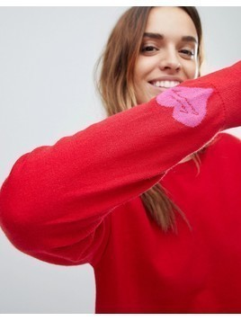 Tommy Hilfiger Heart on Sleeve Red Sweatshirt - Red