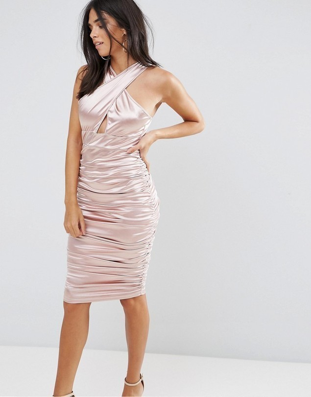 Ax Paris Slinky Pink Ruched Dress With A Cross Over Cut Out Front - Pink