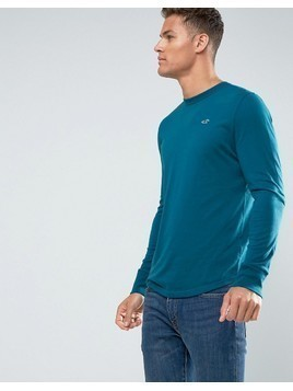 Hollister Long Sleeve Top Crew Icon Logo Slim Fit in Teal - Navy
