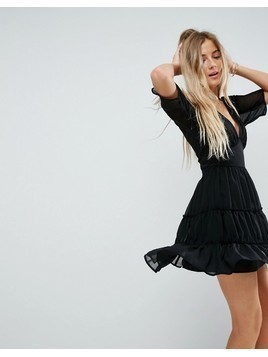 ASOS Soft Mini Dress with Tiers - Black