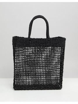 South Beach Woven Straw Shopper Bag - Black
